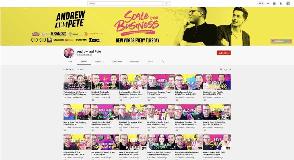 Andrew and Pete YouTube Channel